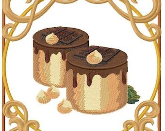 Chocolate Nouveau Truffle Marquise Embroidered on Hand Towel or Tea Towel