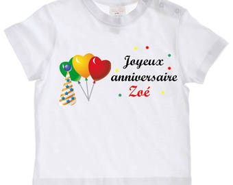 Happy birthday personalized with name baby t-shirt