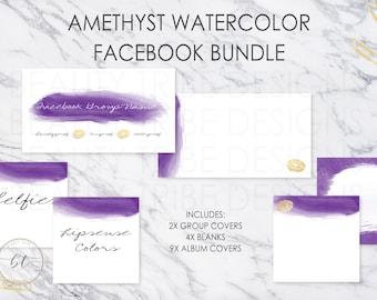 Lipsense FACEBOOK BUNDLE Amethyst Watercolor - lipsense distributor social media branding kit - Digital Download