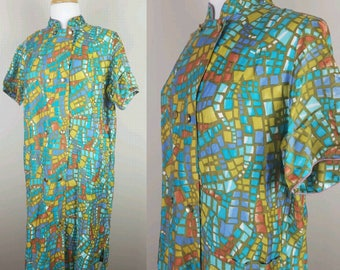 Vintage 1960s dress double breasted geometric print blue green button down day dress