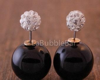 SALE Tribal Earrings - Double Pearl Earrings, Double Sided Earrings, Crystals w/ Polish Black