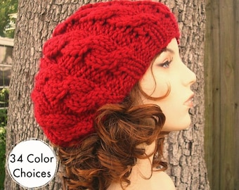 Knit Hat Red Womens Hat - Red Cable Beret Hat in Cranberry Red Knit Hat - Red Hat Red Beret Red Beanie Womens Accessories - 34 Color Choices
