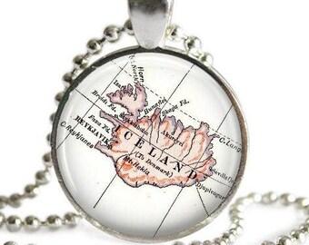Iceland necklace pendant charm, Iceland Map Jewelry, Reykjavik Iceland Pendant gift idea, Gift for traveler, Iceland ornament
