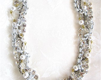 Chunky Silver Bridesmaid Necklace Rhinestone Pearl Twisted Vintage Wedding Necklace - Silver Sally 1