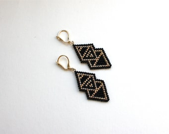 Earrings black and gold