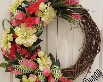 Pink and Green Spring Wreath