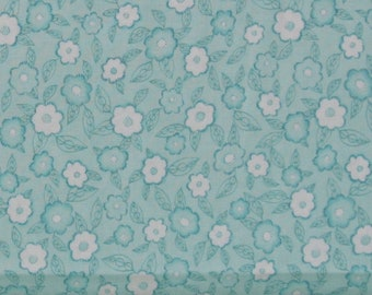 Teal and White Floral 100% Cotton Quilt Blender Fabric, Frankturs and Flourishes Collection by Red Rooster Fabrics, RER469926566-AQU1, Aqua