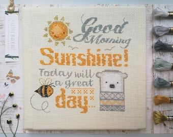 Cute cross stitch kit, Sunshine design, cute embroidery kit, modern cross stitch, DIY kit, bear, cute baby gift ideas, cross stitch patterns