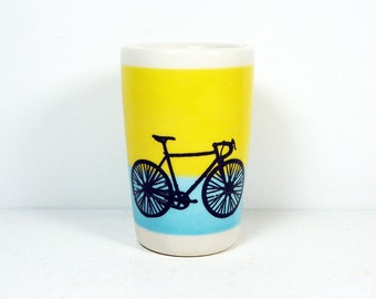 itty bitty cylinder / vase / cup with a road bike print on lemon butter yellow/cloudless blue colorblock READY TO SHIP