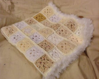 Cream and white baby afghan