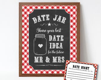 Date Night Jar Sign and Cards, I do BBQ Games, Date Night Ideas, Printable I Do BBQ Chalkboard Sign, Bridal Shower Game, Printable PDF File