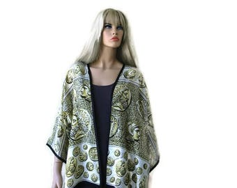 Antique coins, Oversize kimono with wide sleeves-woman top,Plus size blouse-Yellow black white.Fabric from Italy