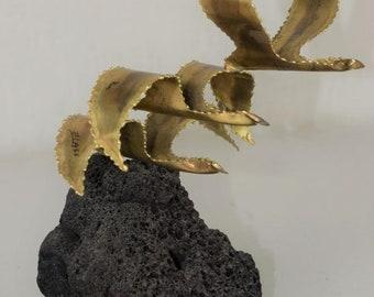 Vintage 1960's Metal Flame Cut Flock Birds Sculpture Signed LOU BLASS Style C. Jere