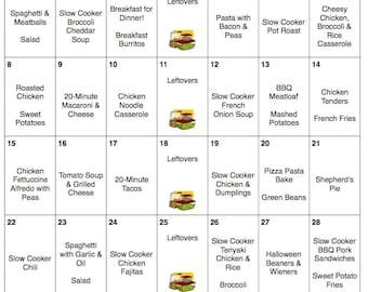 October Weekly & Monthly Menu Plan with Grocery List | Fall Menu | Printable | Grocery List | Halloween Menu | Meal Planner | Dinner Menu