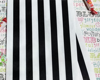 100 Black and White Stripe Party Bags, Black and White Stripe Hen Party Bags, Black Wedding Candy Bags, Graduation Treat Bags, Goody Bags
