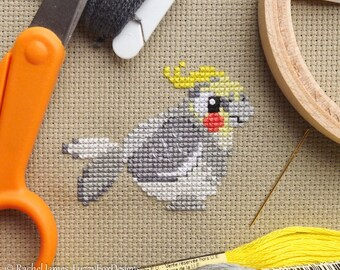 Cockatiel Cross Stitch Pattern PDF | Cute Little Bird | Easy | Modern | Beginners Counted Cross Stitch | Instant Download