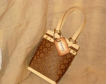 Faux Paris Designer Purse High Fashion Handmade Hand Bag with Stitched Label Tag Personalized Haute Couture