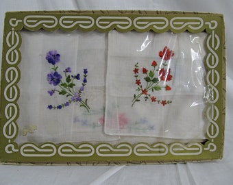 SALE Antique Vintage Box Handkerchief Made in Switzerland All Cotton RN 14850 x3 Handkerchiefs Collector Gift Embroidered Floral Rare