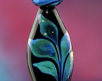 Midnight Plant Handmade Lampworked Glass Beads OOAK Set of Three Black Green Aqua Iridescent Leaves Shield Rondelles Lampwork