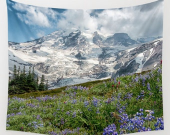 Tapestry, Mountain, Wall Hanging, Nature Tapestry, Mt. Rainier, Wildflowers, 3 Sizes