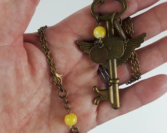 Skeleton Key Necklace, Steampunk Skeleton Key Necklace, Steampunk Necklace, Skeleton Key, Steampunk, Gift, Gift for Her