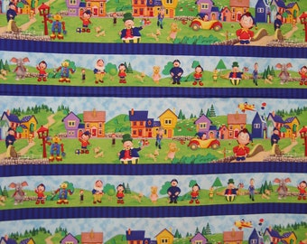Noddy in Toyland striped fabric Quilting Treasures
