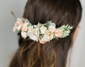 Bridal Flower Comb- Blush bridal headpiece- Back Flower Comb- Back Headpiece- Ivory Wedding Hair- Floral Hair Comb- Flower Crown- Circlet
