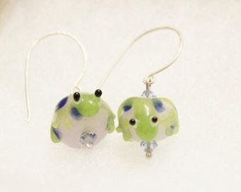 Frog Earrings - Lampwork Bead Earrings
