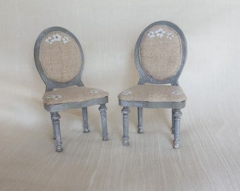 Two chair set 1:12 scale- Dollhouse furniture