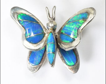 OBO - Silver and Laboratory Opal Butterfly Brooch