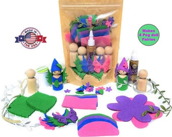 Peg Doll Kit - Fairy Peg Doll - Fairy Craft Kit - Fairy Birthday - Peg Dolls - Crafts for Kids