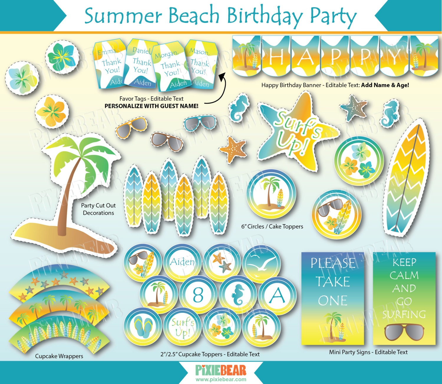 mermaid tropical the banner colors decorations sea party p birthday beach decor fullxfull il pool your under