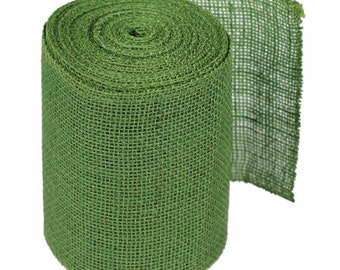 "6"" Green Burlap Ribbon - 10 Yards"