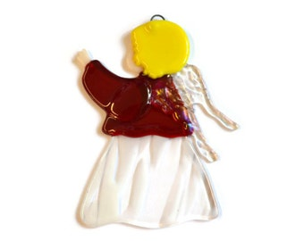 Angel Ornament, Fused Glass, Christmas Ornament, Christmas Suncatcher, Babies First Christmas, Sun Catcher, Red