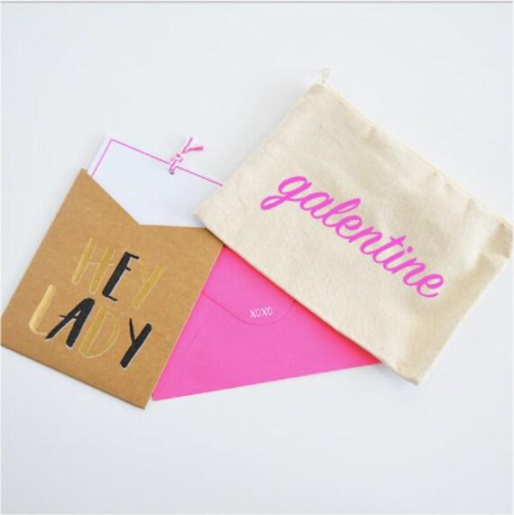 Canvas Cosmetic Bag: Valentine's Day / Galentine - Best Friend Makeup Bag