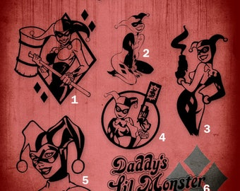 Harley Quinn Decals-choose your Style, Size and Color!