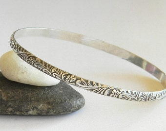 Solid Sterling Silver Bangle, Ornate Floral Vintage Look - Stacking Bangles - Simple Bracelet, Stacked Bracelet