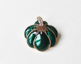 Vintage green enamel pumpkin brooch. Green rhinestone gold tone pumpkin brooch. Autumn Halloween vegetable brooch. Cinderella fall brooch.