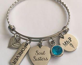Soul sisters bracelet-soul sisters stainless steel bracelet-soul sistee personalizes bracelet