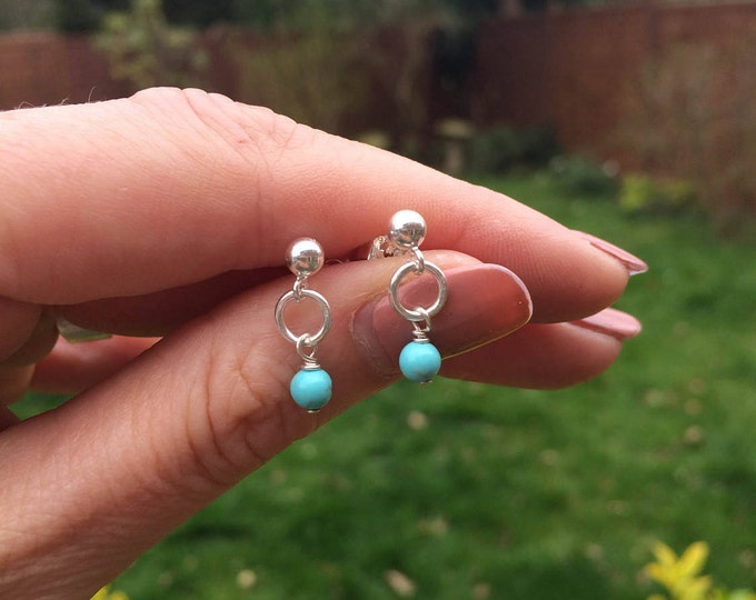 Tiny Sterling Silver Turquoise stud earrings - December Birthstone jewellery gift