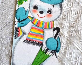 Vintage Christmas Card - Snowman Hi Young Man - Used Hallmark