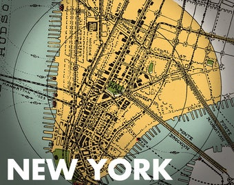 NEW YORK 1928 - city map - FREE shipping