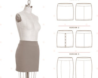 Mabel Skirt Pattern by Colette Patterns - Beginner - Knit Skirt Pattern - Pattern Sewing Pattern Colette Patterns Designed for Knits XS-3XL