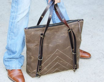 Waxed Canvas zippered tote - heavy weight water resistant canvas and genuine leather accents - (one-of-a-kind) 010061