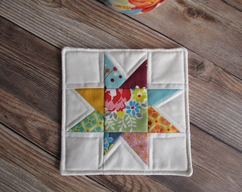 Mug Rug Fabric Coasters Quilted Coasters Teacher Gifts Coworker Gifts Cottage Style Coffee Break Tea Time Tea Party Denyse Schmidt