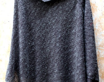 Gray Knitted Poncho, Wool Cape, Asymmetric Wool Shawl, Grey Poncho Cape, V Neck Cape, Soft Wool Poncho Wrap, Gray Wool Cape, Gifts for Mom