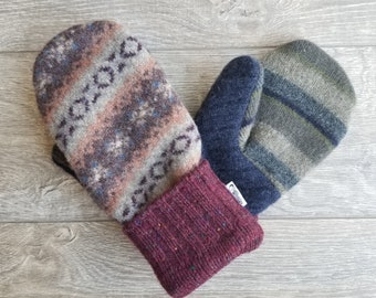 Best Wool Sweater Mittens // Womens Sweater Mittens // Fleece Lined mittens // Rust Brown Blue Maroon