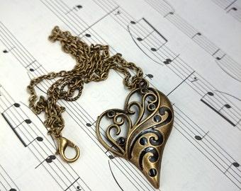 Bronze Heart Necklace. Ornate Heart Pendant. Bronze Anniversary Gift for Wife. Bronze Wedding Gift. Bronze Necklace. 8th Anniversary Gift
