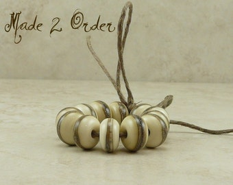 Made 2 Order - Silvered Ivory Spacer Beads - Lampwork Bead Set - SRA - I ship Internationally