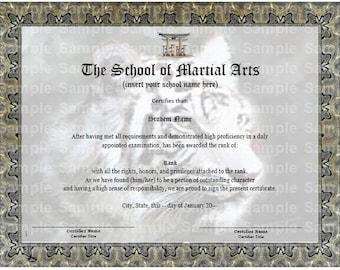 Tiger Face Martial Arts/Karate Rank Belt Certificate Template